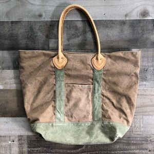 LL Bean Canvas Leather Handle Tote Plaid Lining